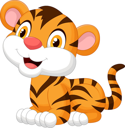 Illustration for Cute baby tiger cartoon  - Royalty Free Image