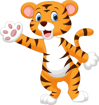 Photo for Cute tiger cartoon waving hand  - Royalty Free Image