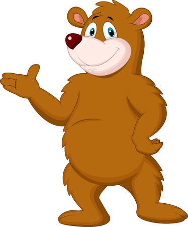 Illustration pour Cute brown bear cartoon presenting  - image libre de droit