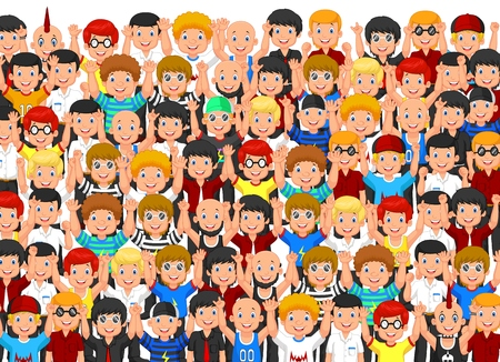 Illustrazione per Crowd of cartoon People Cheering - Immagini Royalty Free