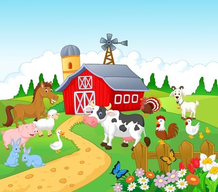 Illustration pour Cartoon Farm background with animals  - image libre de droit