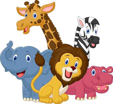 Photo pour Happy safari animal cartoon  - image libre de droit