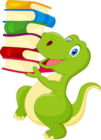 Illustration pour Cute dinosaur cartoon with book - image libre de droit