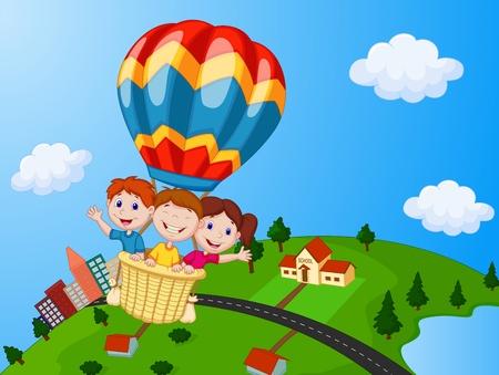 Illustration pour Happy kids riding a hot air balloon - image libre de droit