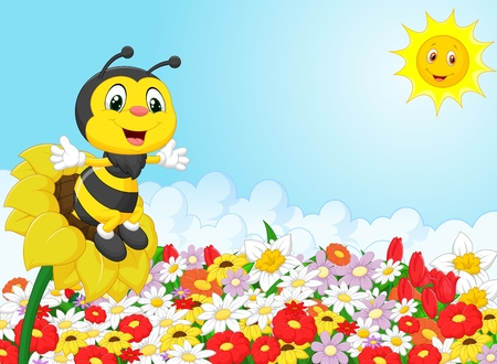 Illustration pour Cartoon bee sitting on the flower - image libre de droit