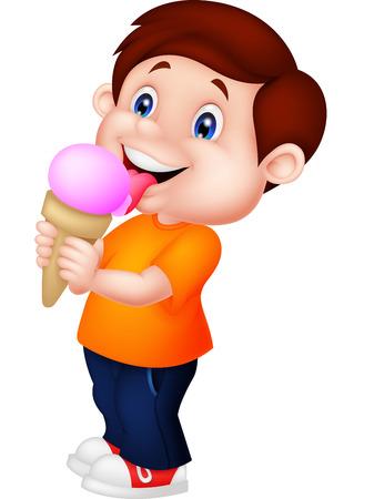 Illustration pour Cute boy licking ice cream - image libre de droit