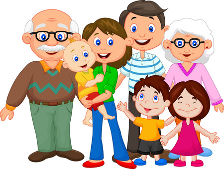 Photo pour Happy cartoon family - image libre de droit
