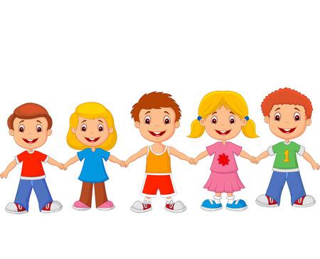 Illustration pour Little children holding hands - image libre de droit