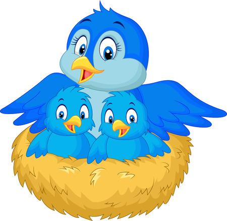 Ilustración de Mother bird with her two babies in the nest - Imagen libre de derechos