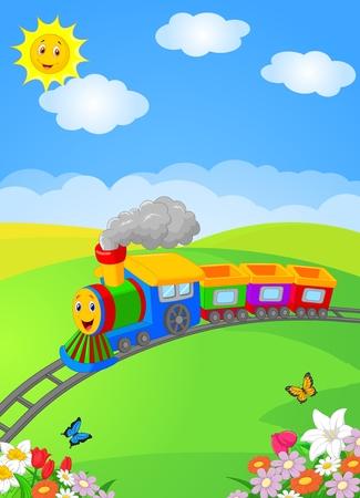 Illustration pour Happy cartoon locomotive - image libre de droit