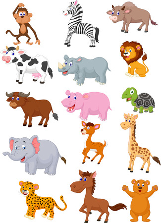 Illustration pour Wild animal cartoon collection - image libre de droit