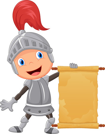 Illustration for Cartoon knight boy holding blank announcement - Royalty Free Image
