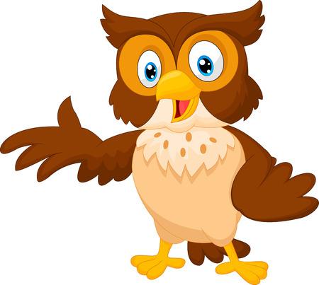 Ilustración de Cute owl cartoon waving - Imagen libre de derechos