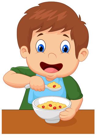 Ilustración de Boy is having cereal for breakfast - Imagen libre de derechos