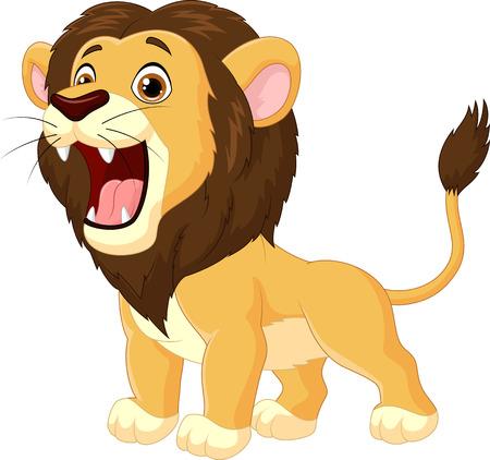 Illustration pour Cartoon lion roaring - image libre de droit