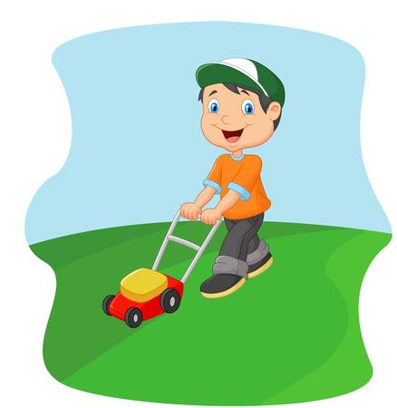 Illustration pour Young man cutting grass with a push lawn mower - image libre de droit