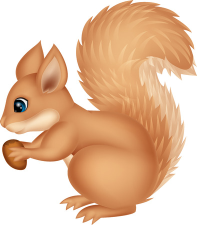 Illustration pour Squirrel cartoon holding nut - image libre de droit