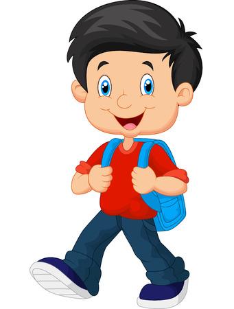 Ilustración de School boy cartoon walking - Imagen libre de derechos
