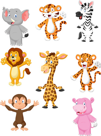 Illustration for A collection of 8 African animals cartoon - Royalty Free Image