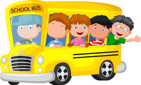 Illustration pour School Bus With Happy Children cartoon - image libre de droit