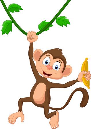Illustration for Cartoon monkey hanging - Royalty Free Image