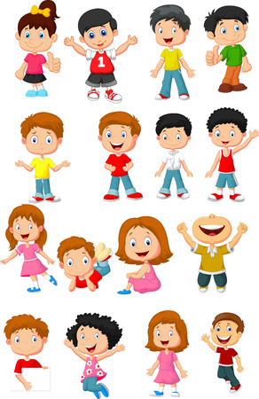 Ilustración de Happy kid cartoon collection - Imagen libre de derechos