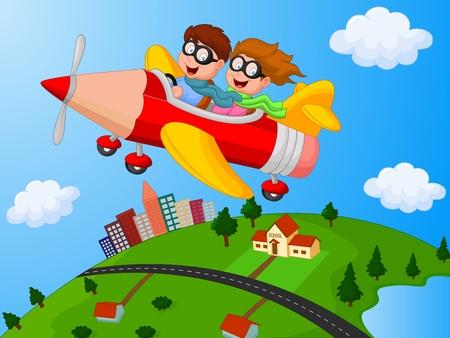 Ilustración de School Children cartoon Enjoying airplane pencil - Imagen libre de derechos