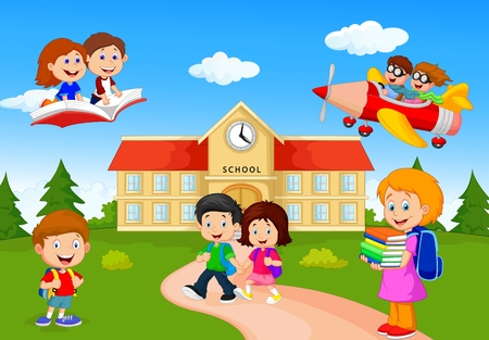 Photo pour Happy cartoon school children - image libre de droit