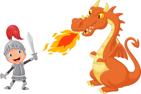 Illustration for Cartoon knight with fierce dragon - Royalty Free Image