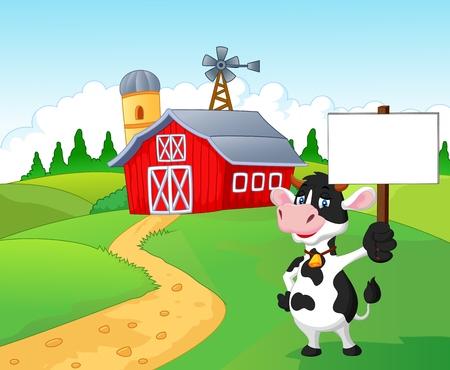 Illustration pour Cartoon cow holding blank sign with farm background - image libre de droit