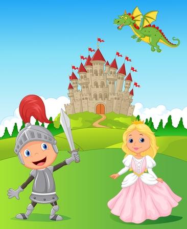 Illustration for Cartoon Knight, princess and dragon - Royalty Free Image