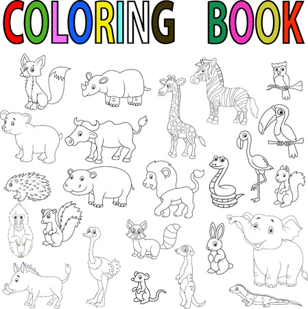 Illustration pour Wild animal cartoon coloring book - image libre de droit