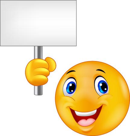 Illustration pour Smiley emoticon cartoon holding a blank sign - image libre de droit