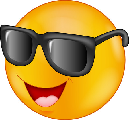 Ilustración de Smiling emoticon cartoon wearing sunglasses - Imagen libre de derechos