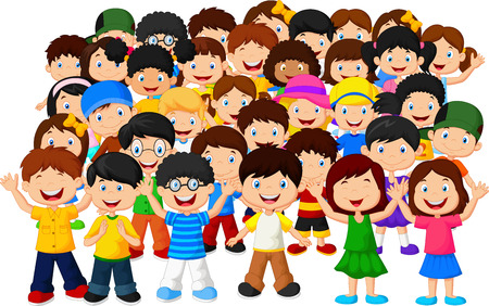 Ilustración de Crowd children cartoon - Imagen libre de derechos