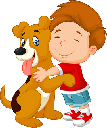Ilustración de Happy cartoon young boy lovingly hugging his pet dog - Imagen libre de derechos