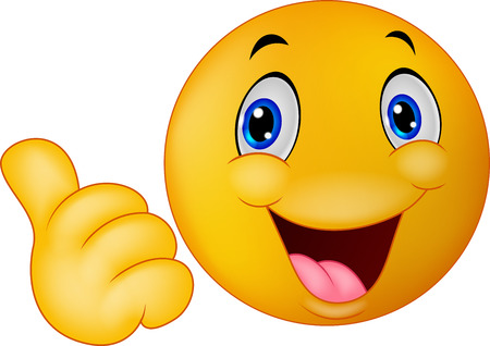 Illustration pour Happy smiley emoticon cartoon giving thumbs up - image libre de droit