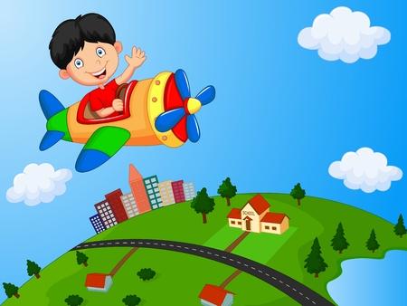 Ilustración de Cartoon boy riding airplane - Imagen libre de derechos