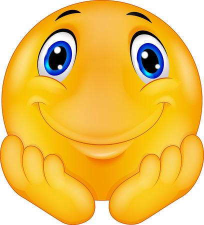 Illustration pour Thinking emoticon smiley cartoon - image libre de droit