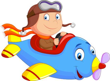 Ilustración de Little Boy cartoon Operating a Plane - Imagen libre de derechos