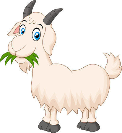 Ilustración de Cartoon goat eating grass - Imagen libre de derechos