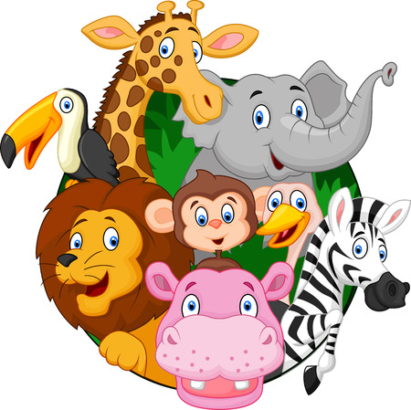 Photo pour Cartoon safari animals - image libre de droit
