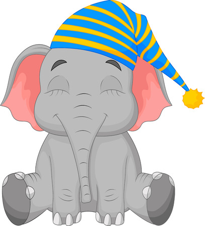 Photo pour Sleeping Elephant cartoon in a cap - image libre de droit