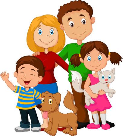 Illustration pour Happy family cartoon - image libre de droit