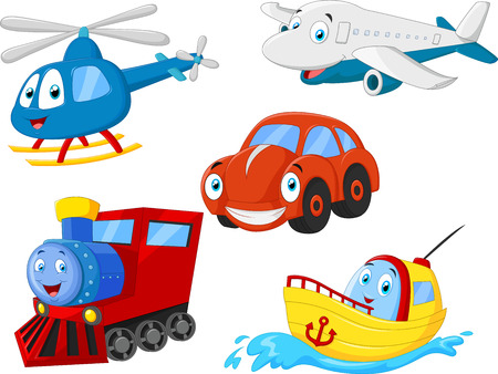 Illustration pour Cartoon transportation collection - image libre de droit