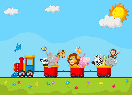 Foto de Birthday background with happy animal cartoon on train - Imagen libre de derechos