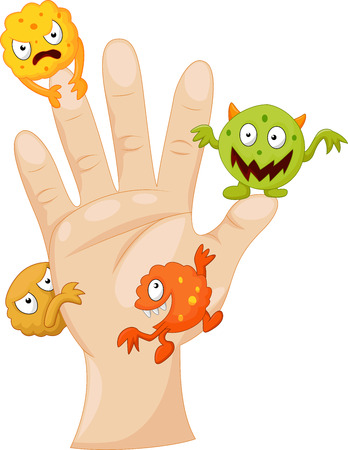 Illustration pour Dirty palm with cartoon germs - image libre de droit