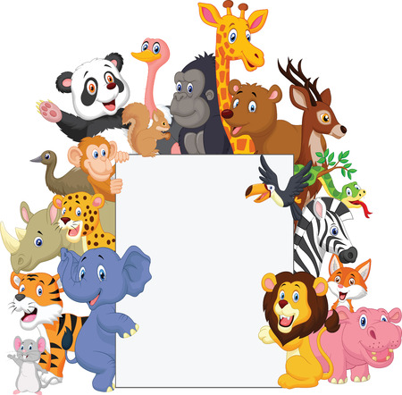 Illustration pour Wild animal cartoon with blank sign - image libre de droit