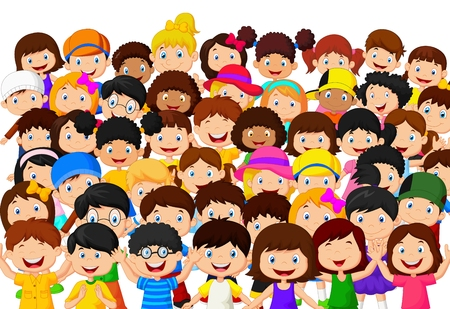 Illustrazione per Crowd of children cartoon - Immagini Royalty Free
