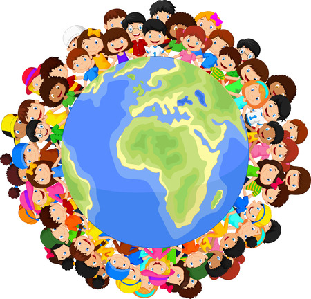 Illustration pour Multicultural children cartoon on planet earth - image libre de droit